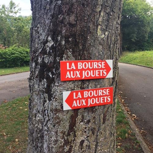 """Panneau  """"LA BOURSE AUX JOUETS"""" L38 H12,5 cm"""