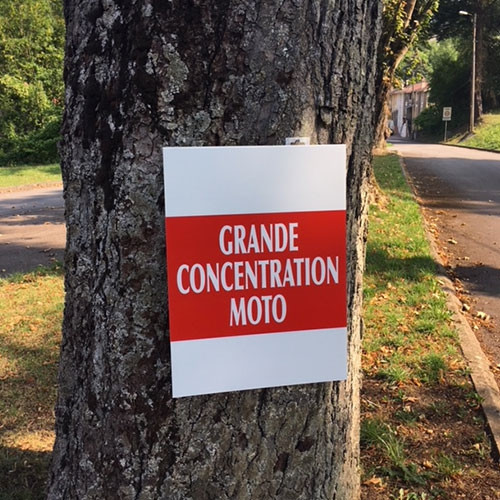 """Panneau  """"GRANDE CONCENTRATION MOTO"""" L50 H38 cm"""