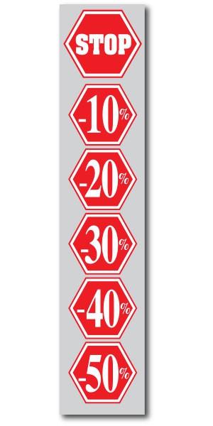 """Affiche """"STOP -10% à -50%"""" L25 H115 cm"""