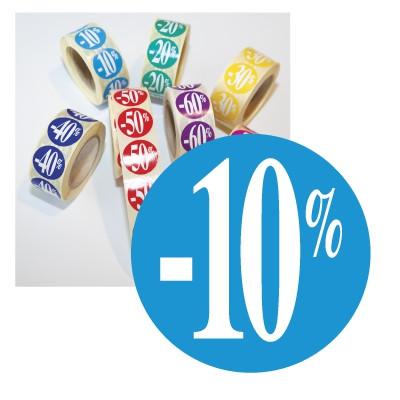"Rouleau de 500 stickers turquoise ""-10%"" 24mm"