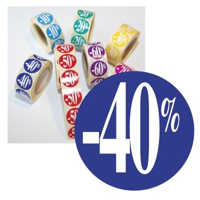 """Rouleau de 500 stickers bleu """"-40%""""  24 mm"""