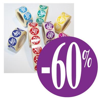 """Rouleau de 500 stickers violet """"-60%""""  24mm"""