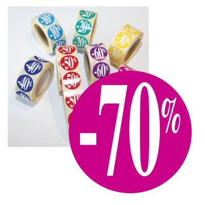"Rouleau de 500 stickers fuchsia ""-70%""  24 mm"