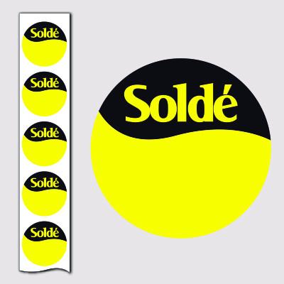 """1000 Stickers """"Soldé"""" 40 mm"""