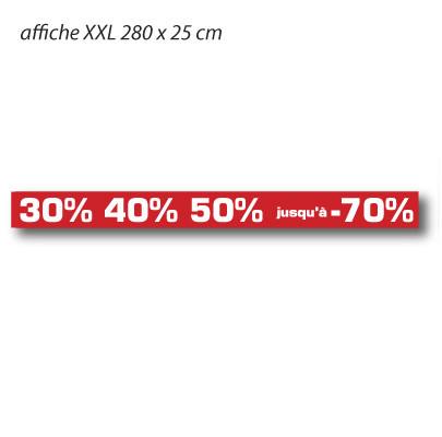 """Affiche """"30% 40% 50% jusqu'à -70%"""" XXL L280 H25 cm"""