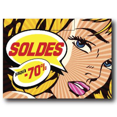 """Affiche """"SOLDES"""" L70 H50 cm"""
