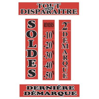 """Kit de 5 affiches """"SOLDES"""" fluos"""