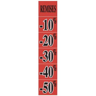 """Affiche """"REMISES -10% -20% -30% -40% -50%"""" fluo L25 H115 cm"""