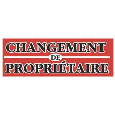 """Affiche """"CHANGEMENT DE PROPRIÉTAIRE"""" fluo L115 H40 cm"""