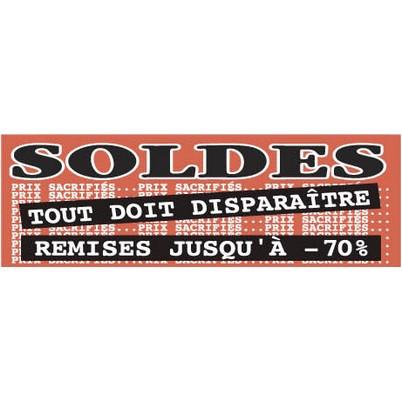 """Affiche """"SOLDES REMISES JUSQU' À -70%"""" fluo L168 H60 CM"""