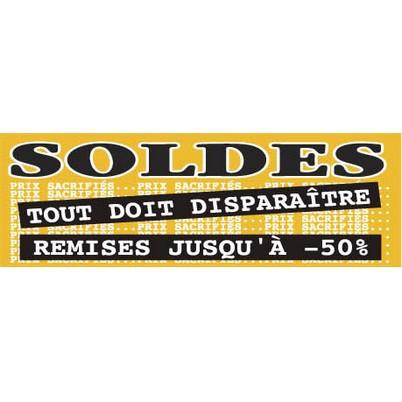 """Affiche """"SOLDES REMISES JUSQU' À -50%"""" fluo L168 H60 cm"""
