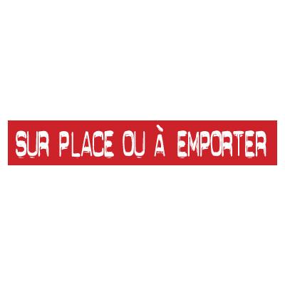 """STICKER satiné L60 H10 cm """"SUR PLACE OU A EMPORTER"""""""