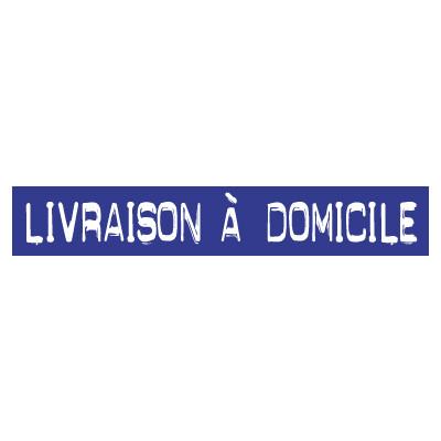 """STICKER satiné L60 H10 cm """"LIVRAISON A DOMICILE"""""""