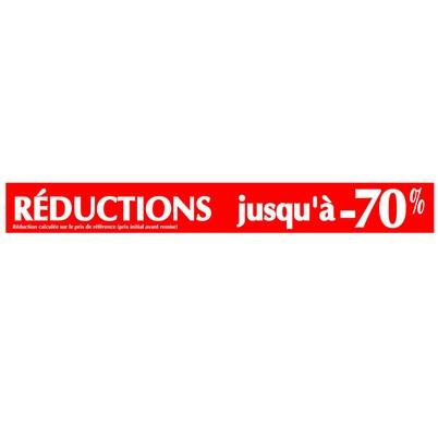 """Affiche """"REDUCTIONS JUSQU'A -70%"""" L165 H20 cm"""