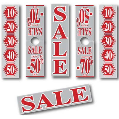 "6 Posters ""SALE...silver and red3 40 X 168 CM"