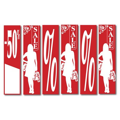 """6 Posters """"SALE...in red 168 X 40 CM"""