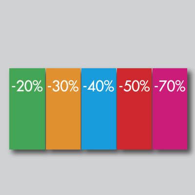 Paquet de 250 étiquettes papier  20,30,40,50,70% L60 H140 mm