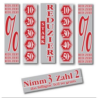 """6 Posters """"REDUZIERT"""" silber und rot 168 X 40 CM"""