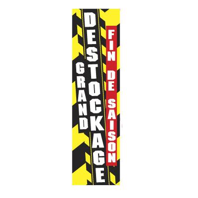"affiche"" GRAND DESTOCKAGE  FIN DE SAISON"" verticale 63x17cm"