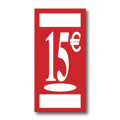 "Panneau polypro ""15€"" L19 H38 cm"