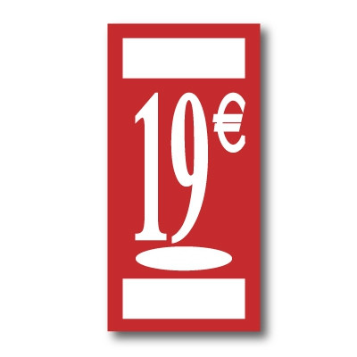 "Panneau polypro ""19€"" L19 H38 cm"