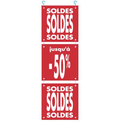 """Guirlande de 3 cartons """"SOLDES"""""""