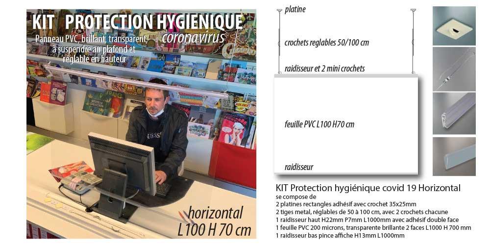 KIT ECRAN  DE PROTECTION SUSPENDU L100 H 70 cm