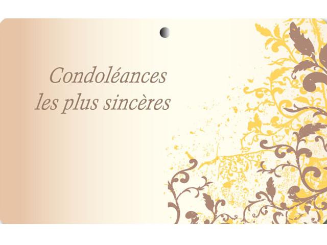 """Paquet de 50 étiquettes carton """"Condoléances"""" orangé"""