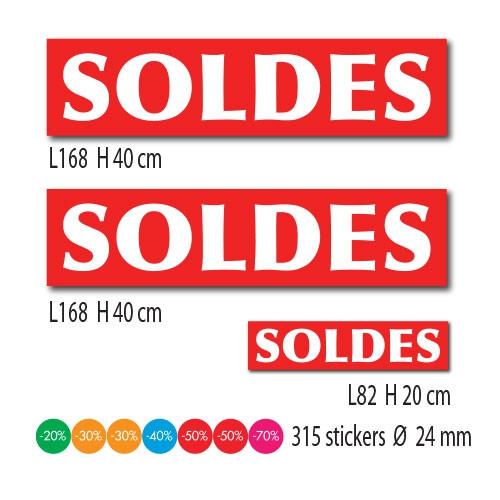 """Kit de 3 affiches """"SOLDES"""" et 315 stickers"""