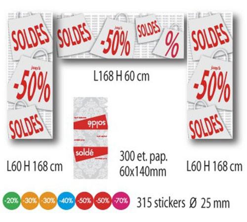 KIT 3 affiches SOLDES, 300 etiquettes papier et 315 stickers