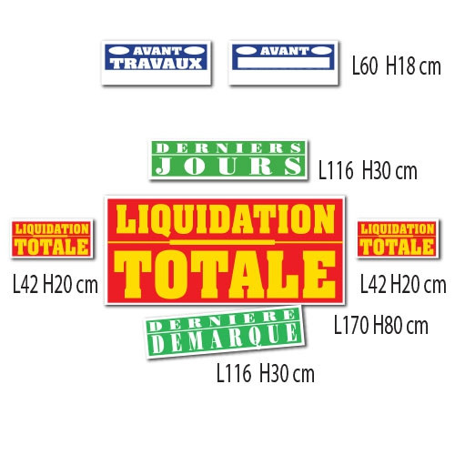 "Kit de 7 affiches ""LIQUIDATION TOTALE"""