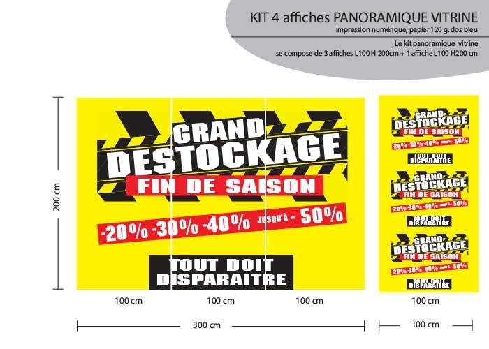 KIT DE 4 AFFICHES PANO  L300+100 H 200cm