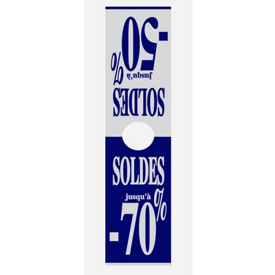 """Affiche mannequin """"SOLDES jusqu'à -70 %"""" L40 H165 cm"""