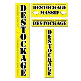 """Kit de 4 affiches jaunes """"DESTOCKAGE MASSIF"""""""
