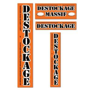 "Kit de 4 affiches orange ""DESTOCKAGE MASSIF"""