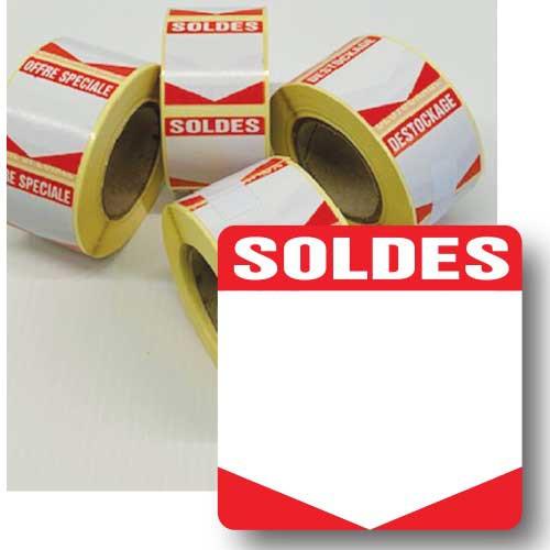 """Rouleau de 500 étiquettes adhésives """"SOLDES"""" 35mm"""