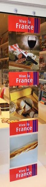 """Cartons """"pain, vin et fromage"""" L34 H174 cm"""