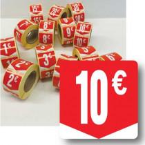 """Rouleau de 500 étiquettes adhésives """"10€"""" 35mm"""