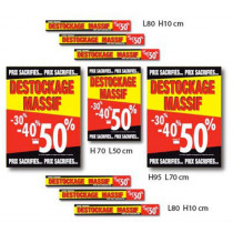 Kit de 9 affiches DESTOCKAGE MASSIF
