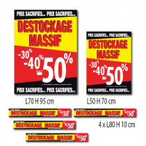 Kit de 6 affiches DESTOCKAGE MASSIF