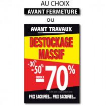 """Sticker adhésif """"DESTOCKAGE MASSIF -70%"""" L100 H140 cm"""
