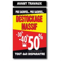 """Affiche """"DESTO. MASSIF-50% AV.TRAVAUX"""" L100 H165 cm"""