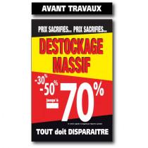 """Affiche """"DESTO. MASSIF-70% AV.TRAVAUX"""" L100 H165 cm"""