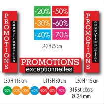 Kit de 9 affiches PROMOTIONS EXCEPTIONNELLES et 315 stickers