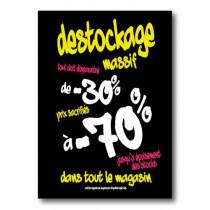 Affiche DESTOCKAGE -30 à-70%  L50 H70cm
