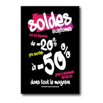 """Affiche """"SOLDES -50%"""" L100 H150cm"""