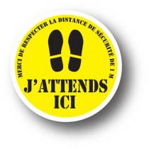 Sticker de sol jaune J' ATTENDS ICI L33 H33cm