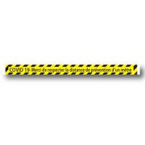 Sticker de sol jaune COVID 19  L100 H7cm