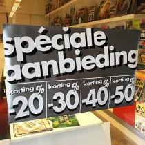 """Poster  """"SPECIALE AANBIEDING %"""" L82 H50cm"""