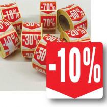 """Rouleau de 500 étiquettes adhésives """"10%"""" 35mm"""